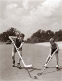 1930s 1940s 2 Boys With Sticks And Puck Art Print