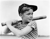 1930s Boy At Bat Wearing A Horizontal Striped Tee Shirt Art Print