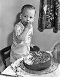 1950s Little Boy Toddler Standing On Chair Art Print