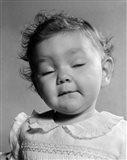 1950s Portrait Baby In Frilly Dress Art Print