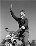 1940s 1950s Smiling Boy Riding Bike Waving Art Print