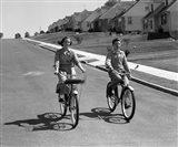 1950s Teen Boy Girl Couple Riding Bikes Art Print