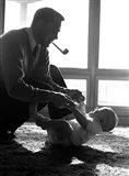 1950s Silhouetted By Window Light  Father Pipe In Mouth Art Print