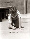1950s Smiling Boy On School Yard Ground Playing Art Print