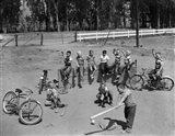 1950s 10 Neighborhood Boys Playing Sand Lot Baseball Art Print
