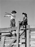1950s Two Young Boys Dressed As Cowboys Art Print