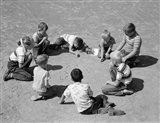 1950s Boys & Girls Shooting Marbles Art Print