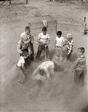 1950s Boys Fight In Sand Lot On Baseball Field Art Print