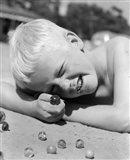 1950s Boy Crouching Shooting Marbles Art Print