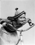 1930s Smiling Eager Little Girl In Knit Cap And Sweater Riding Bike Art Print