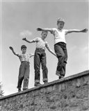 1950s Three Laughing Boys Walking On Top Of Stone Wall Art Print