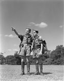 1950s Two Boy Scouts One Pointing Wearing Hiking Gear Art Print