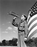 1950s Boy Scout In Uniform Standing In Front American Flag Art Print