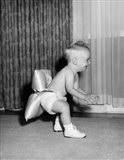 1950sBaby In Diaper And Shoes Learning To Walk Art Print