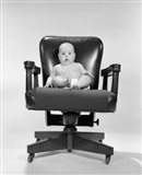 1960s Baby Sitting In Executive Office Chair Art Print