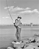 1980s Boy Fishing On Riverbank Art Print