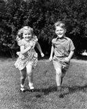 1930s 1940s Boy And Girl Running In Backyard Art Print
