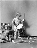 1930s Boy Beating On Toy Drum Art Print