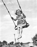 1930s 1940s Smiling Girl On Swing Outdoor Art Print