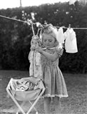 1940s 1950s Girl Gingham Dress Hanging Art Print