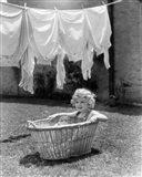 1930s 1940s Girl Outdoors Sitting In Laundry Basket Art Print