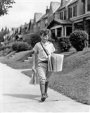 1930s Newsboy Delivering Newspapers Art Print