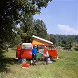 1970s Father And Son Cooking At Campsite Art Print