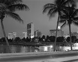 Night View Skyline With Palm Trees Miami Florida Art Print