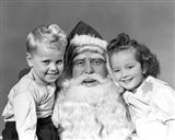 Santa Claus Posing With Young Boy And Girl Art Print