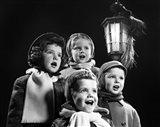 Children Singing Christmas Carols Outdoor By Lantern Light Art Print
