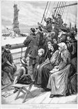 Group Of Arriving Immigrants Huddled On Ship Deck Waving At Statue Of Liberty Art Print