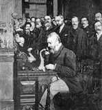 Engraving Of Alexander Graham Bell Making First Long Distance Telephone Call From New York To Chicago In 1892 Art Print