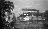 Steamboats Rounding A Bend On Mississippi River Parting Salute Currier & Ives Lithograph 1866 Art Print