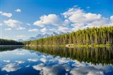 Scenic Landscape Reflecting In Lake At Banff National Park, Alberta, Canada Art Print