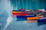 Colorful Rowboats Moored In Calm Lake, Alberta, Canada Art Print