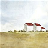 Red Farm House II Art Print