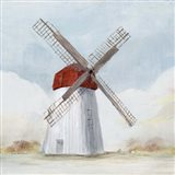 Red Windmill I Art Print