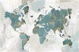 Teal World Map Art Print