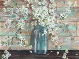 Blossoms in Mason Jar Art Print