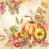 Watercolor Harvest Pumpkins II Art Print