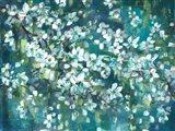 Teal Blossoms Landscape Art Print