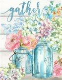 Colorful Flowers in Mason Jar Gather Art Print