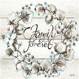 Cotton Boll Family Wreath Art Print