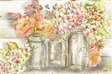 Colorful Flowers in Mason Jar Gold Art Print