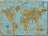 Rustic World Map Sky Blue Art Print