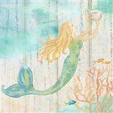 Sea Splash Mermaid Woodgrain I Art Print