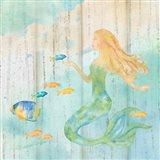 Sea Splash Mermaid Woodgrain II Art Print