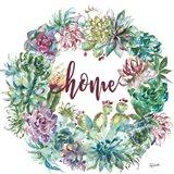 Succulent Garden Wreath Home Art Print
