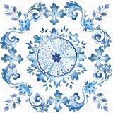 Artisan Medallions White/Blue I Art Print