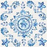 Artisan Medallions White/Blue II Art Print